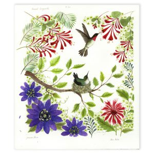 Hummingbirds and Passion Flower in Mixed Media by Jane Ray