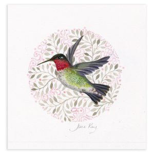 Ruby Throated Hummingbird, Original Artwork in Mixed Media by Jane Ray