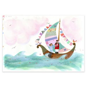 A Boat with Silken Sails in mixed media by Jane Ray