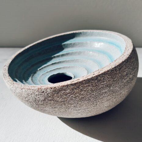 Ripple Vessel in Aqua, Stoneware by Michele Bianco