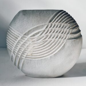 Entwine Carved Disc Vessel in Stoneware by Michele Bianco