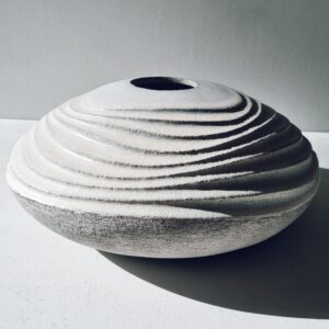 Low Carved Vessel in Stoneware by Michele Bianco