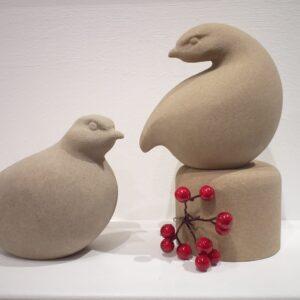 Partridge stone sculpture by Jennifer Tetlow