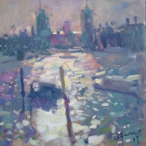 Light on The Thames Oil Painting by Andrew Farmer ROI