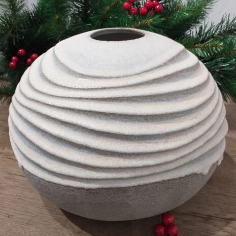 Carved Round Vessel in Stoneware by Michele Bianco