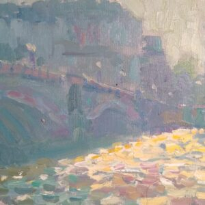 Lambeth Bridge Midday, Oil on Panel, Andrew Farmer ROI