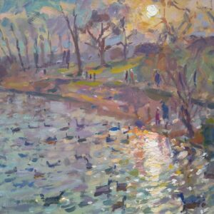 Sunset over the Pond, Oil on Panel, Andrew Farmer ROI