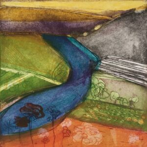Across The Valley Etching by Louise Davies RE