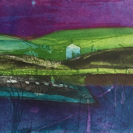 Moonlight Over The Moors, Etching by Louise Davies RE
